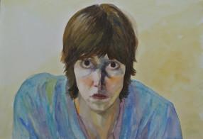 self-portrait on yellow background