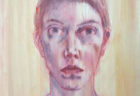 self-portrait on wood